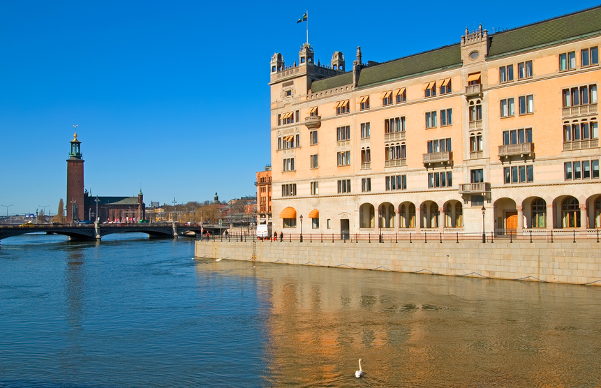 Stockholm, Sweden – April 14, 2010: Rosenbad.The Prime Minister's Office and the Government Chancellery. On the background is City Hall